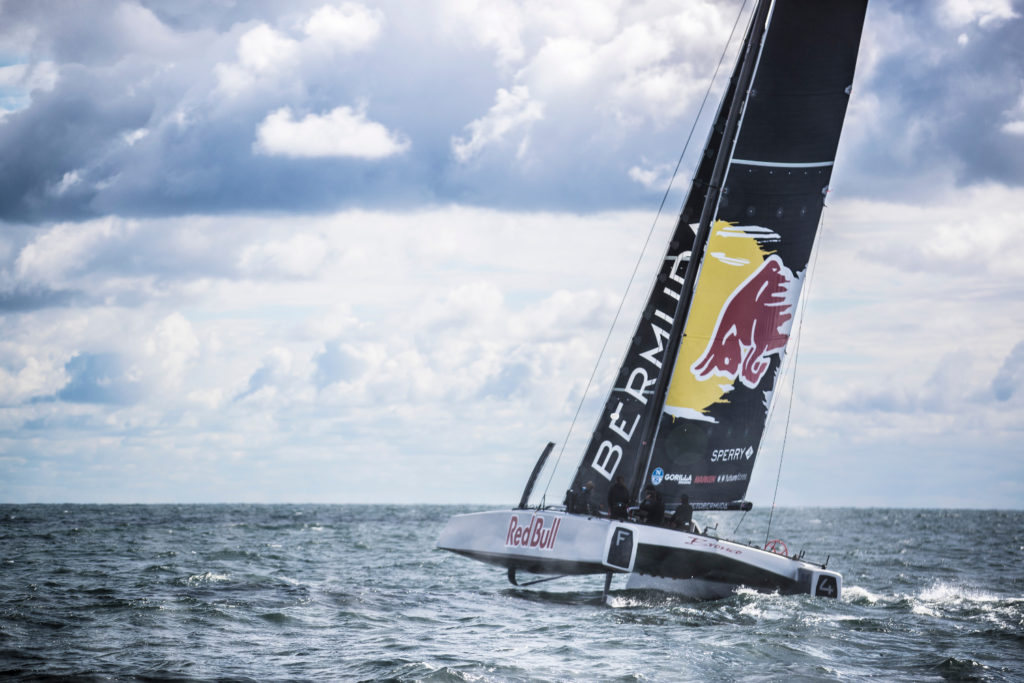 Jimmy Spithill tests his F4 race yacht with Team Falcon in Newport, Rhode Island, USA on 24 September, 2016.