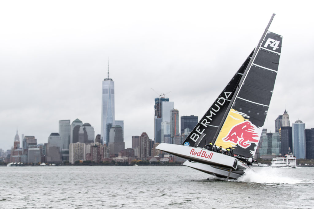 Jimmy Spithill and crew test-sail the F4 race yacht with Team Falcon in New York, NY, USA on 22 October, 2016.