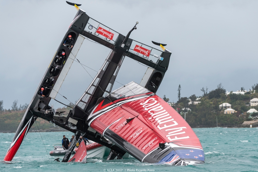 America's Cup New Zealand capsize